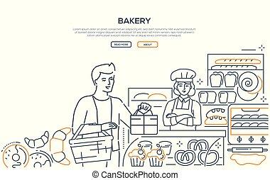 web, stijl, moderne, -, bakkerij, ontwerp, lijn, spandoek