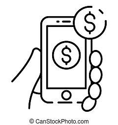 web, stijl, smartphone, schets, bankwezen, pictogram