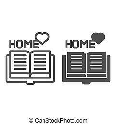 web, stijl, vector, 10., schets, favoriet, vrijstaand, illustratie, eps, app., white., boek, ontworpen, icon., thuis, lijn, lezende , ontwerp, glyph