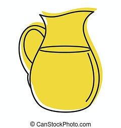 web, stile, brocca, scarabocchiare, illustrazione, vettore, disegno, latte, icona
