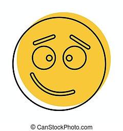 web, stile, confuso, scarabocchiare, isolato, illustrazione, faccia, vettore, disegno, icona