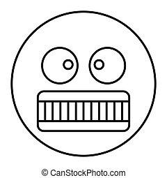 web, stile, contorno, arrabbiato, isolato, illustrazione, faccia, vettore, disegno, icona