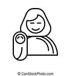Bambino Neonato Mamma Neonato Lei Illustrazione