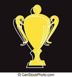 web, stile, oro, icone, scarabocchiare, tazza, premio, vettore, disegno, illustrazione, sport