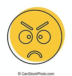 web, stile, scarabocchiare, arrabbiato, isolato, illustrazione, faccia, vettore, disegno, icona