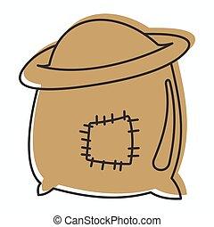 web, stile, scarabocchiare, illustrazione, borsa, vettore, disegno, farina, icona