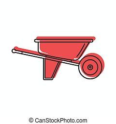 web, stile, scarabocchiare, illustrazione, vettore, disegno, carriola, icona