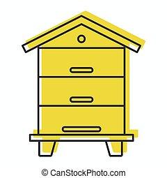 web, stile, scarabocchiare, isolato, illustrazione, alveare, vettore, disegno, icona