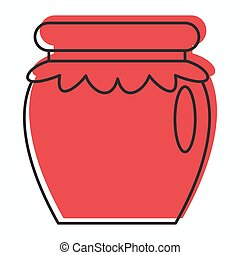 web, stile, scarabocchiare, vaso, marmellata, illustrazione, vettore, disegno, icona