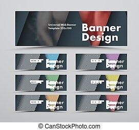 web, stile, set, foto, materiale, triangolare, standard, elementi, nero, disegno, bandiere, formato