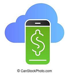 web, stile, smartphone, 10., icone, colorare, dollaro, eps, appartamento, style., pendenza, sincronizzazione, disegnato, trendy, icon., app., disegno, nuvola, telefono