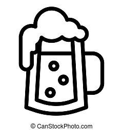 web, stile, white., 10., contorno, schiuma, tazza, linea, isolato, illustrazione, eps, schiumoso, birra, vettore, disegnato, icon., bolle, vetro, disegno, app.