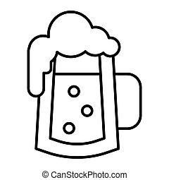web, stile, white., 10., contorno, schiuma, tazza, magro, isolato, illustrazione, eps, schiumoso, birra, vettore, bolle, disegnato, icon., linea, vetro, disegno, app.