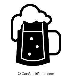 web, stile, white., 10., schiuma, tazza, solido, app., isolato, illustrazione, eps, schiumoso, birra, vettore, disegnato, icon., bolle, vetro, disegno, glyph