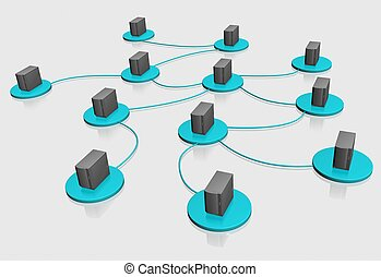 web - 3d illustration of internet