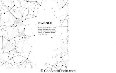 web, structure., scienza, astratto, illustrazione, fondo., vettore, nodes., fondo, atomo, plesso, bianco, tecnologia