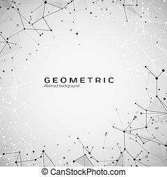 web, structure., scienza, astratto, illustrazione, polygonal, fondo., vettore, nodes., atomo, plesso, tecnologia