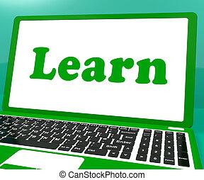 web, studerend , draagbare computer, leren, leren, of, optredens