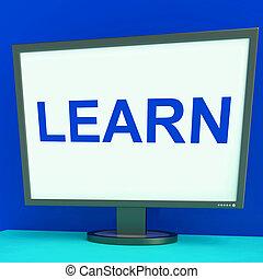 web, studerend , scherm, leren, leren, online, of, optredens