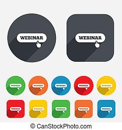 web, studio, webinar, mano, icon., segno, puntatore