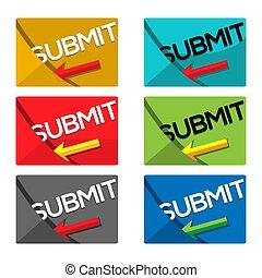 Web Submit sticker. set icon. Isolated on White Background