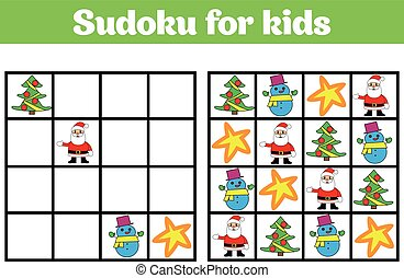 Sudoku game for children with pictures. Logic game for preschool children. rebus for children. Educational game vector illustration. Merry christmas, new year