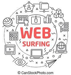 Web Surfing Linear illustration