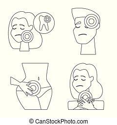 web., symbol, rana, symbol., ilustracja, wektor, zapalenie, zbiór, kość, pień