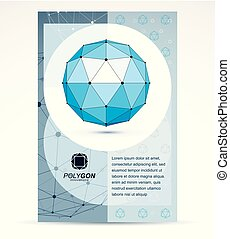 Web technologies company booklet cover design. Abstract vector, isometric blue dimensional shape.
