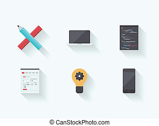 Web technology process flat icons
