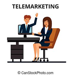 web, technology., zakenman, zakelijk, omzet, communicatie, online, vrijstaand, plat, chatting., achtergrond., telemarketing, vector, video, illustratie, internet, conferentie, witte , businesswoman, calling.