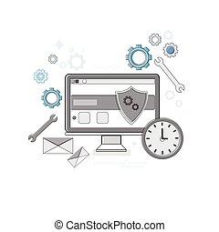 web, tecnologia, protezione dati, magro, linea, sicurezza, bandiera, linea