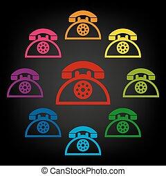 web, telefoon, pictogram, retro