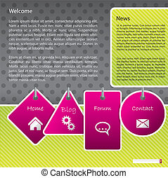 Web template design with labels