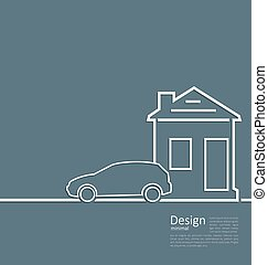 Web template house and parking car logo in minimal flat style cleaness line