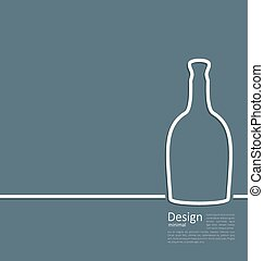 Web template logo of bottle wine in minimal flat style line