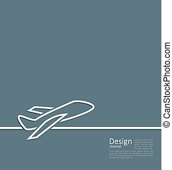 Web template logo of plane in minimal flat style line