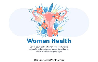 Web template with female reproductive system in flowers. Landing page. Woman health. Advertising for women's pads, lactobacillus, department of obstetrics and gynecology. Medical banner. Vector, eps10