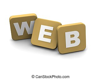 Web text. 3d rendered illustration isolated on white.