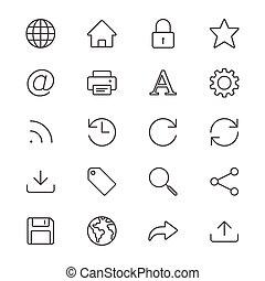 Web thin icons