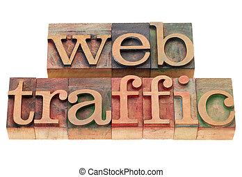 web traffic in letterpress type