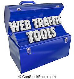 Web Traffic Tools words in a metal toolbox to illustrate helpful instructions and advice for boosting visitors, frequency, search optimization and reputation for your website online presence