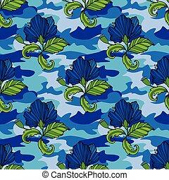 web, tropico, fiori tropicali, tuo, clothing., camuffamento, seamless, camo, ripetere, stampa, fiore, vettore, fondo., vestiti, pattern., illustration., disegno