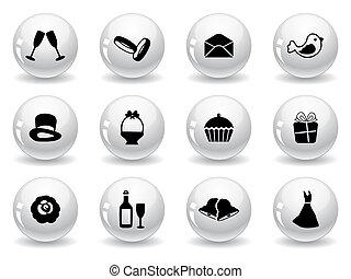 web, trouwfeest, knopen, iconen