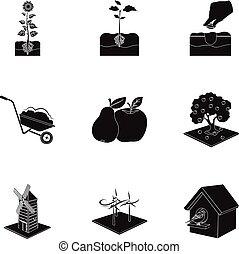 web, tuin, set, calcium, iconen, collection., watering, boerderij, anderen, black , woestijn, style., pictogram