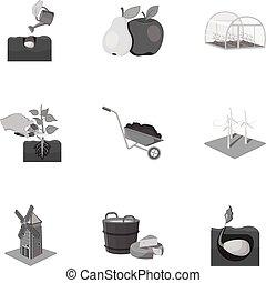 web, tuin, set, calcium, iconen, collection., watering, boerderij, anderen, monochroom, woestijn, style., pictogram
