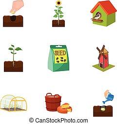 web, tuin, set, calcium, iconen, collection., watering, boerderij, spotprent, anderen, woestijn, style., pictogram