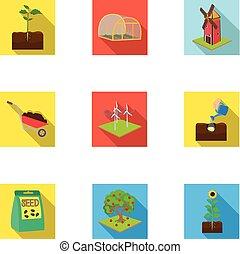 web, tuin, set, calcium, plat, collection., watering, boerderij, anderen, iconen, woestijn, style., pictogram