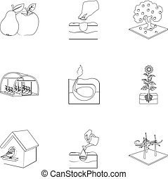 web, tuin, set, schets, calcium, iconen, collection., watering, boerderij, anderen, woestijn, style., pictogram