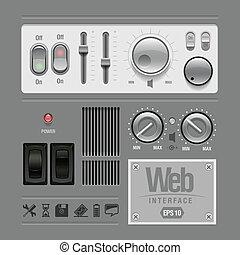 Web UI Elements Design Gray. Elements: Buttons, Switchers, ...
